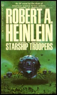 front book cover for science fiction novel Starship Troopers written by sci-fi author Robert A. Heinlein