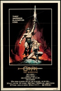 movie poster for the original Conan the Barbarian film starring Arnold Schwarzenegger