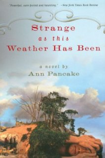 Book cover for Strange As This Weather Has Been, a literary novel by Ann Pancake, on Minimalist Reviews.