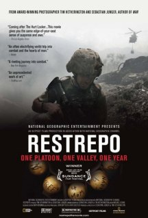 Movie poster for Restrepo, a documentary film by Tim Hetherington and Sebastian Junger, on Minimalist Reviews.