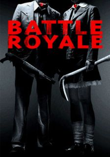 Movie poster for Battle Royale, a film by Kinji Fukasaku, on the compact movie review at Minimalist Reviews.