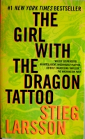 Book cover for The Girl with the Dragon Tattoo, a mystery thriller novel by Stieg Larsson, on Minimalist Reviews.